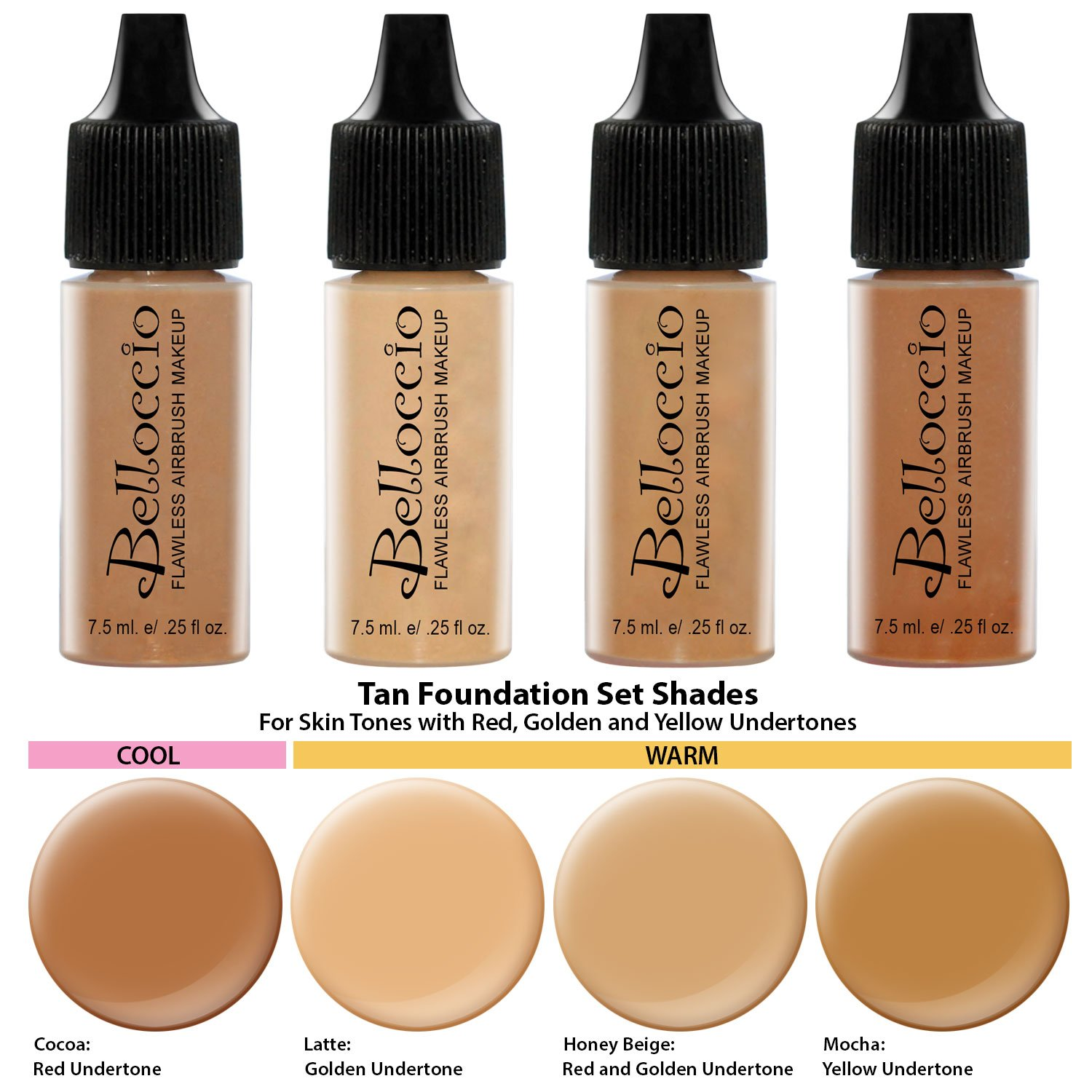 Belloccio Professional Beauty Airbrush Cosmetic Makeup System with 4 Tan Shades of Foundation in 1/4 Ounce Bottles - Kit Includes Blush, Bronzer and Highlighter and 3 Bonus Items and a Video Link by Belloccio (Image #3)