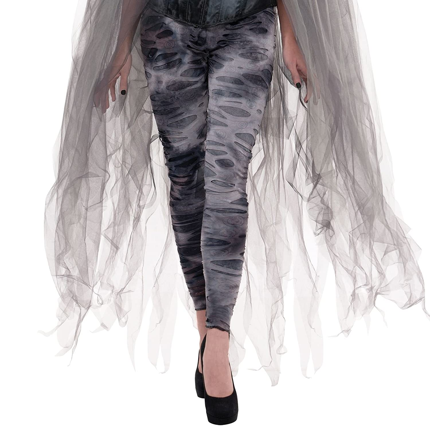Multicolor amscan Tattered Gray Footless Zombie Tights Medium