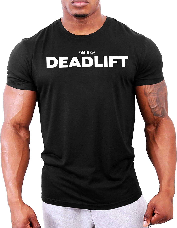GYMTIER Deadlift Maglietta Bodybuilding Abbigliamento da Allenamento per Maglietta da Palestra da Uomo