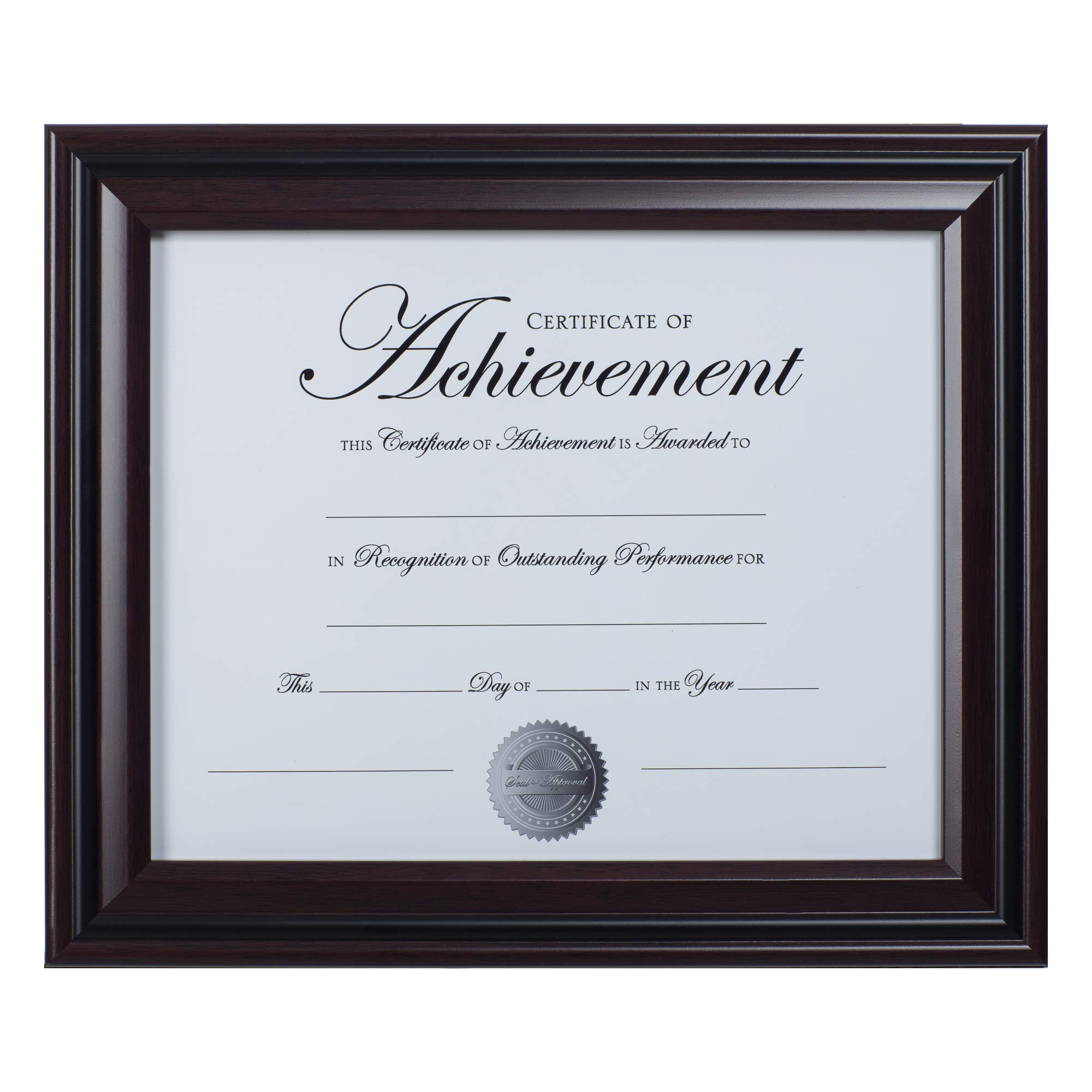 Dax 8.5x11 Classic Rosewood and Black Document Frame, Wall or Table Top Display by DAX
