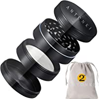 Antonki Herb Grinder, 2 Inch Spice Herb Grinder with 4 Layers, 24 Sharp Grinding Teeth Black - with Carrying Pouch