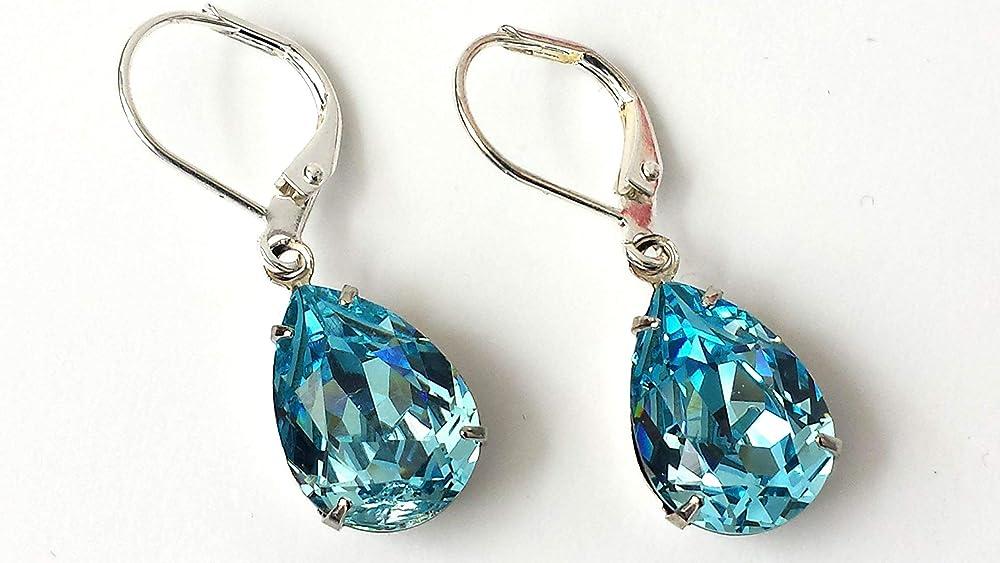 Mint Blue Silver Art Deco Earrings Filigree Earrings March Birthstone Aquamarine Earrings Aqua Blue Earrings Birthday Gift for Her