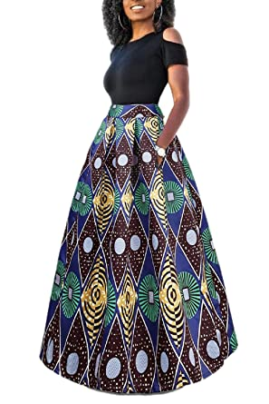 meet hot product special for shoe Yacun Femme Jupe Longue Africaine Robe Imprimé Floral Deux Pièces  Traditionnelle
