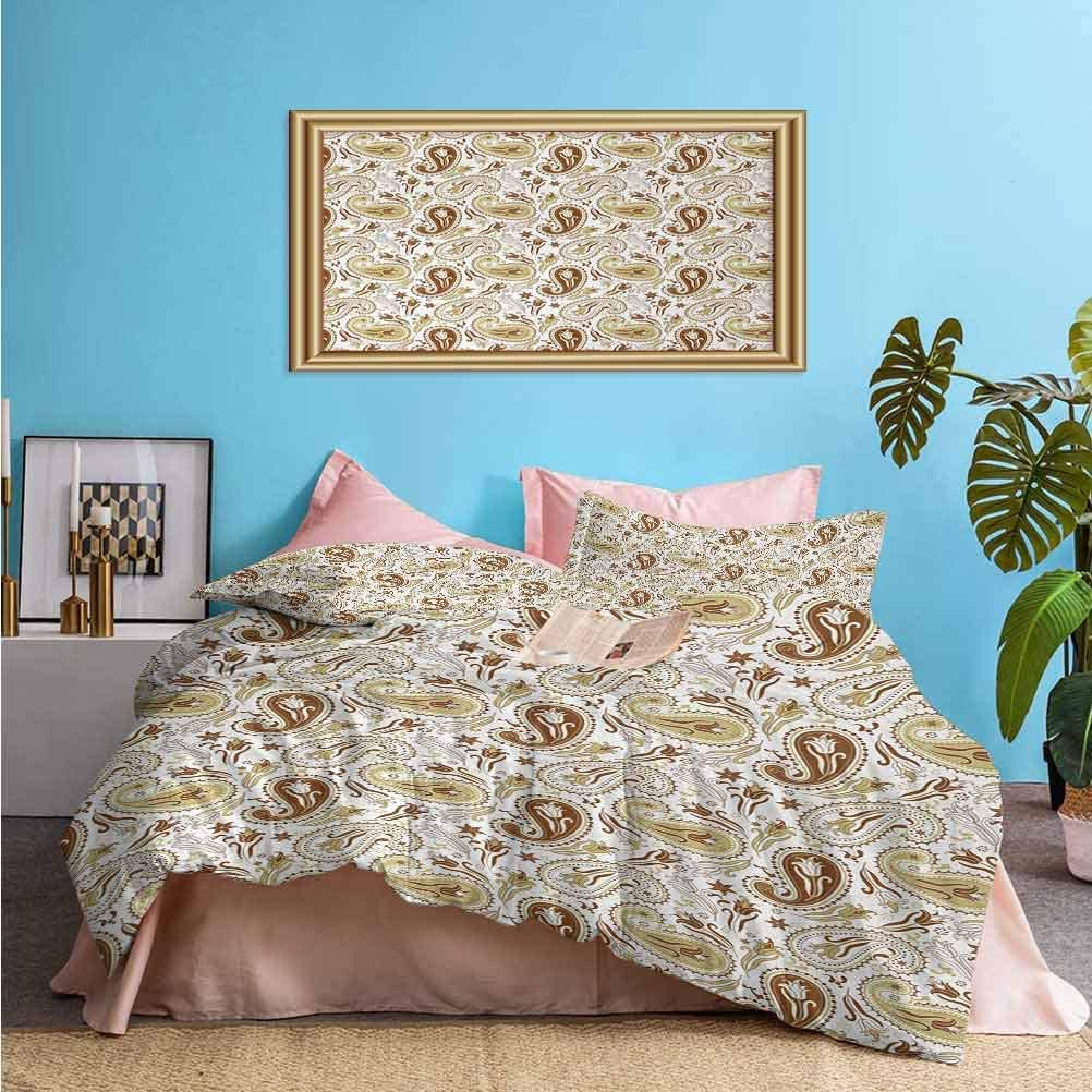 Paisley 3 Piece Duvet Cover Bedding Sets Floral Patterns with Paisley and Tulips Persian Hippie Art Home Decor Best Material/Highly Durable White Chocolate Umber (1 Duvet Cover 2 Pillowcases) Twin