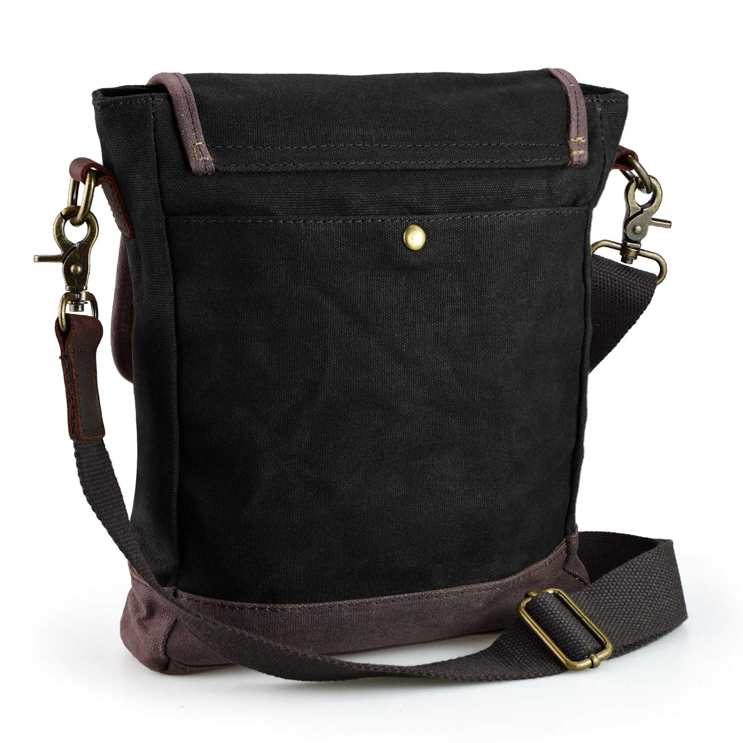 SHANGRI-LA Small Messenger Bag for Men and Women Waxed Canvas Purse Waterproof Crossbody Satchel Bag Sling Pack for Trip Travel Black