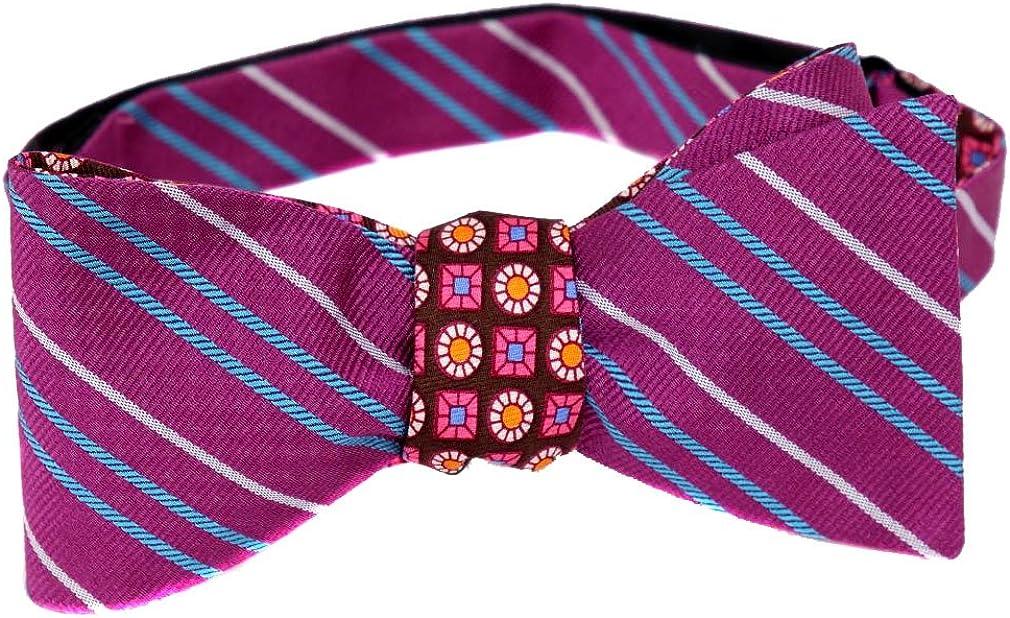 Brown Pink Blue Self Tie Reversible Bow Tie Violet