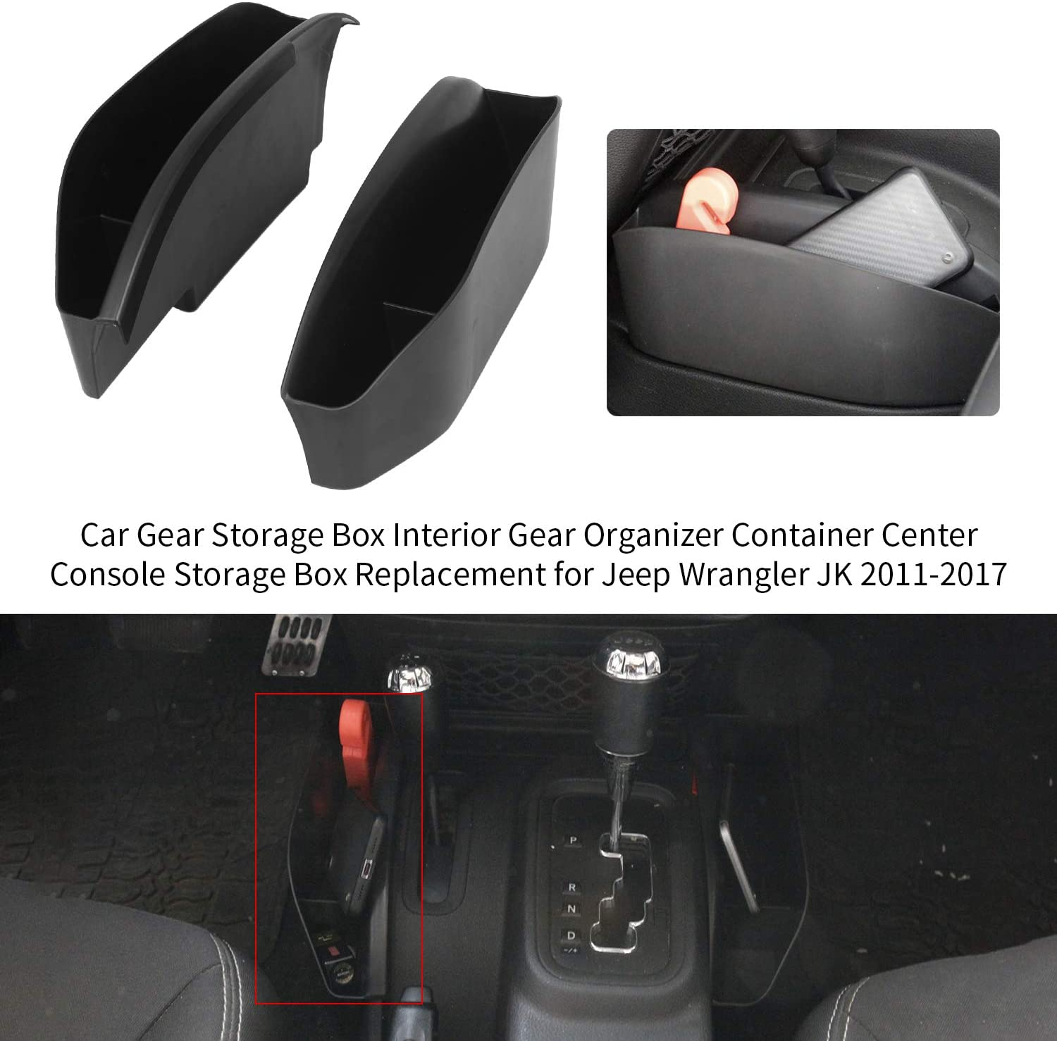 KKmoon Car Gear Storage Box Interior Gear Organizer Container Center Console Storage Box Replacement for Jeep Wrangler JK 2011-2017