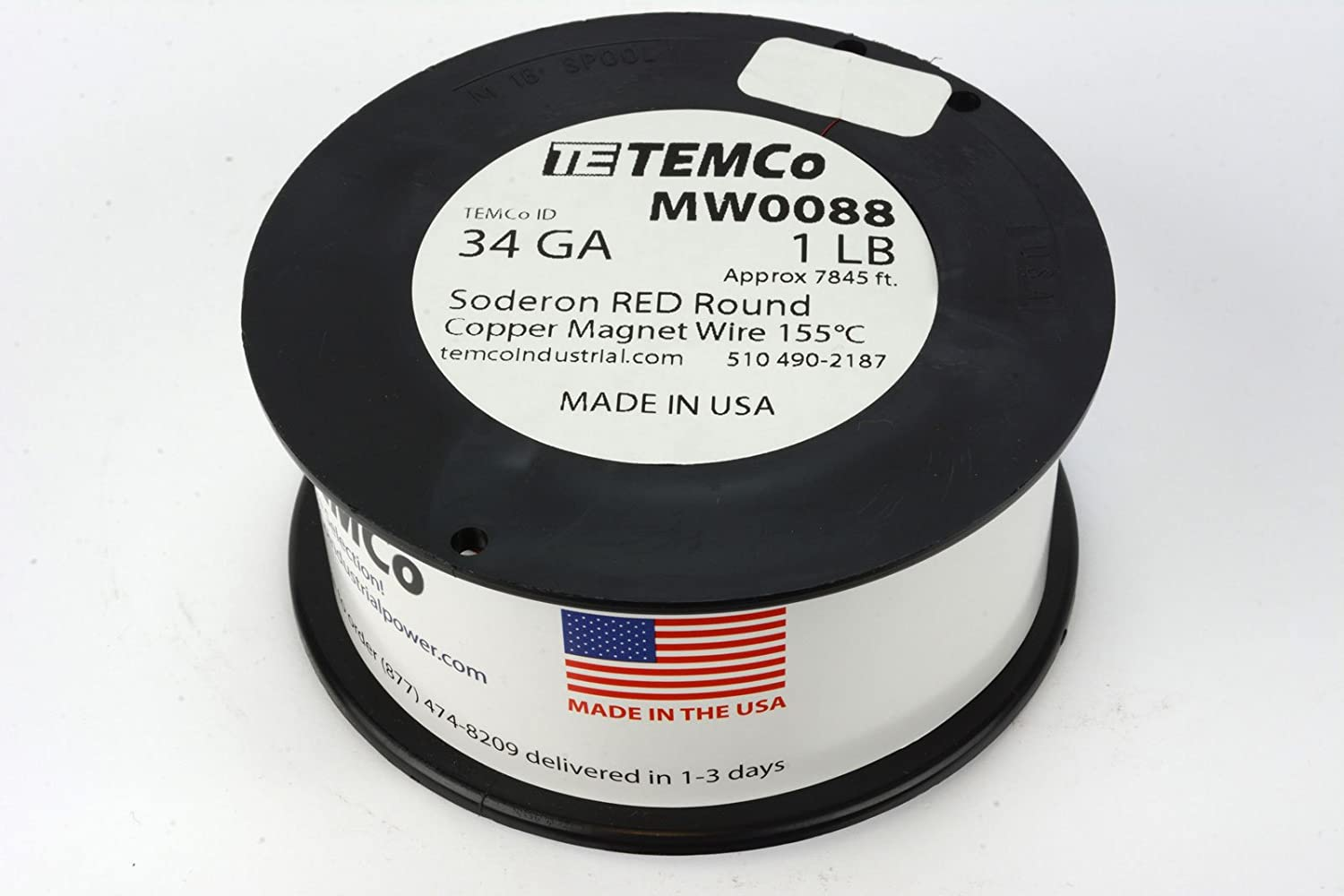 Amazon.com: TEMCo 34 AWG Copper Magnet Wire - 1 lb 7845 ft 155°C ...
