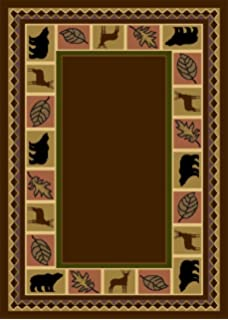 wildlife bear moose rustic lodge cabin lodge carpet area rug brown 8u0027 - Rustic Area Rugs