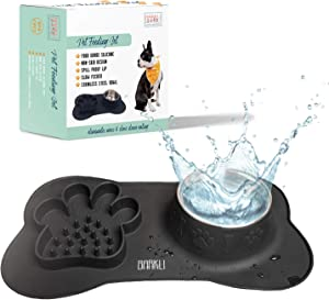 Barkli Baby Spill Proof Dog Bowl Mats for Food and Water - Slow Feed Dog Bowl Mat, No Spill Dog Bowl, Cute Dog Bowls, Dog Feeding Station, Cat Slow Feeder Dog Bowls