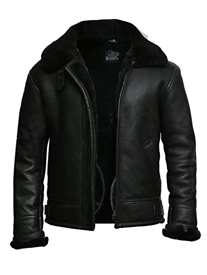 f9721892b Brandslock Mens Pilot Aviator B3 WWII Genuine Shearling Sheepskin Leather  Bomber Flying Cockpit Jacket