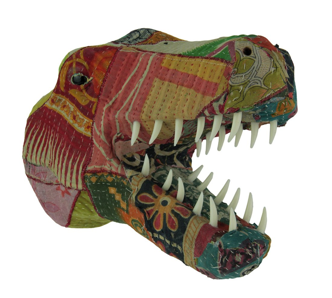 Paper Mache Sculptures Vintage Sari Fabric T-Rex Head Mount 9.5 Inch King Max