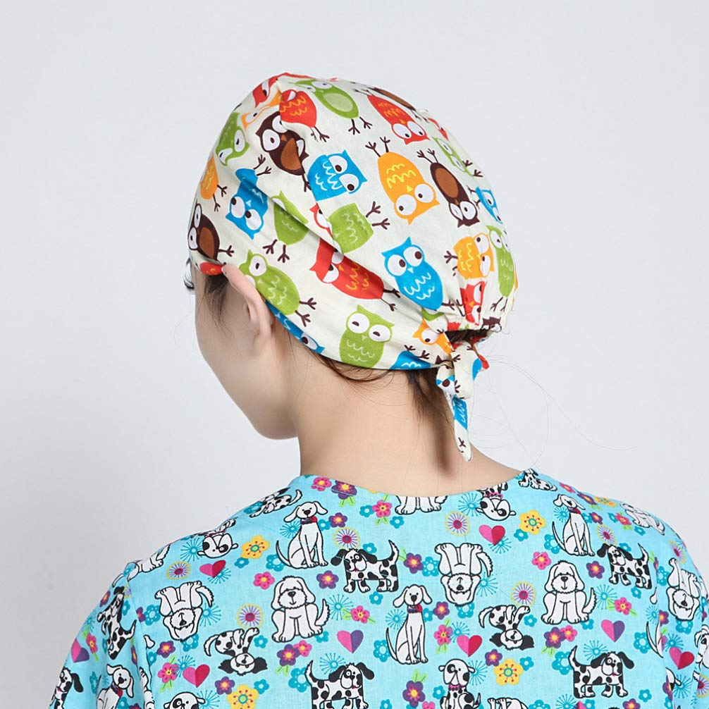 FENICAL Surgical Cap Cartoon Owl Scrub Caps Adjustable Sweat Absorbing Hat Physician Cap Nurse Hat for Women Men