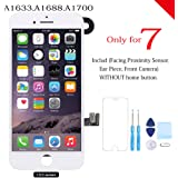 for iPhone 7 Screen Replacement White Full Assembly LCD Touch Digitizer Display with Front Camera Facing Proximity Sensor, Ear Speaker, Repair Tools and Screen Protector
