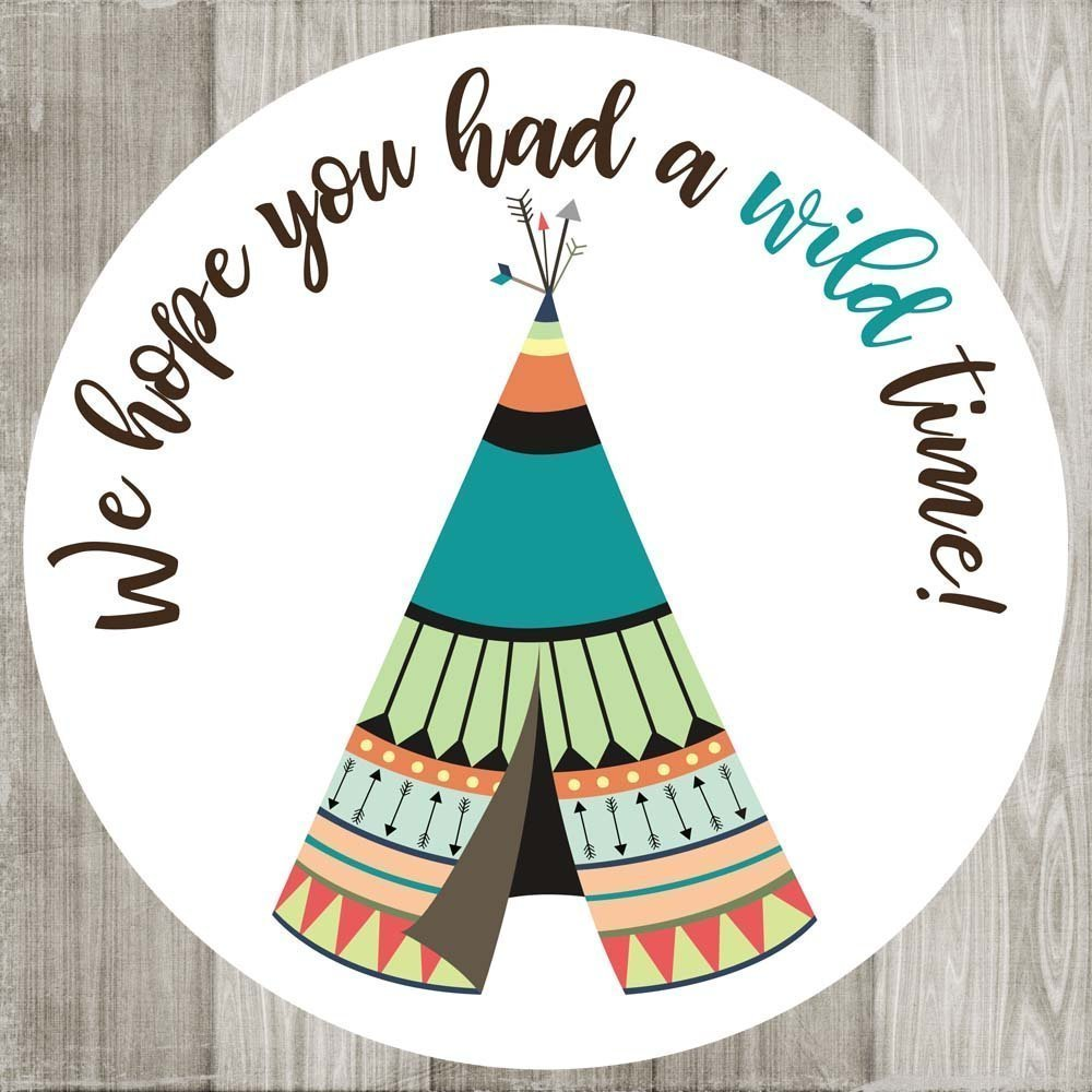 Blue Tribal Tee Pee Wild Thank You Sticker Labels - Birthday Baby Wedding Party Favors - Set of 50
