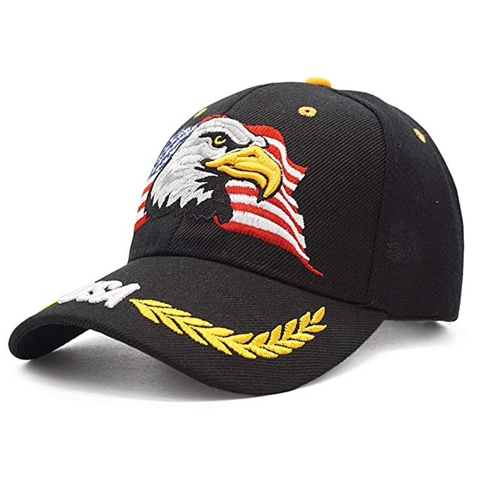 b5878e487e1 Image Unavailable. Image not available for. Color  New Men Eagle Baseball  Cap American Flag Embroidery Hat Summer Casual Letter Army Tactical Hip Hop
