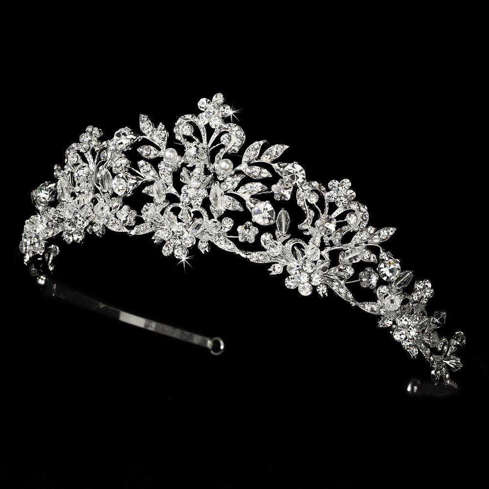 Neidy Swarovski Crystal and White Pearl Wedding Bridal Tiara