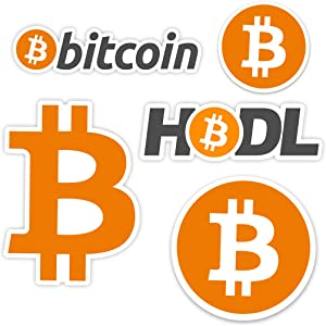 Bitcoin BTC Official Logo Cryptocurrency Vinyl Sticker Bundle, 5 Stickers, HODL Weatherproof Removable Stickers for Laptops, Cell Phone, Windows, Miners, and More
