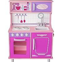 Kids House Cocina de Madera Rosa -Pink Vintage- Cocina de Juguete para Niñas
