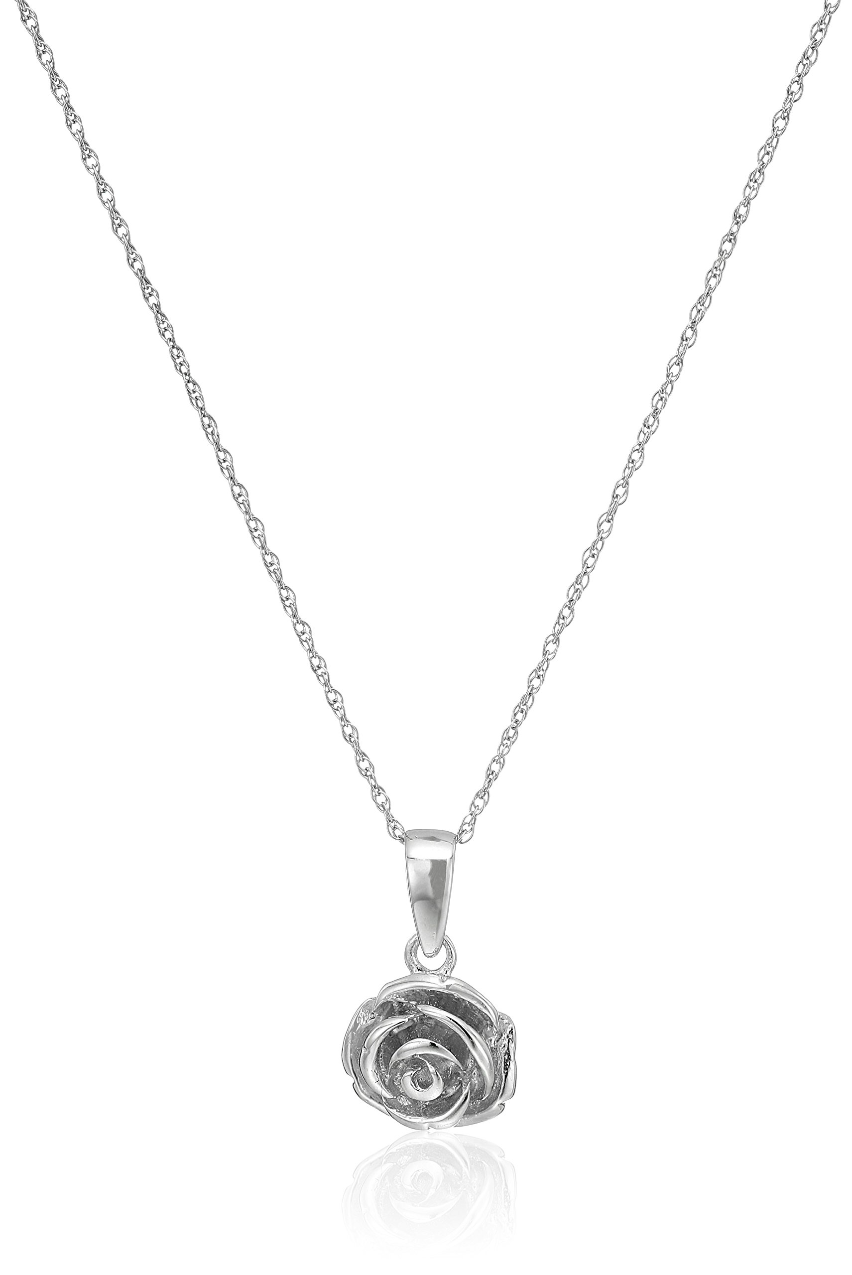 Sterling Silver Rose with Rope Chain Pendant Necklace, 18''