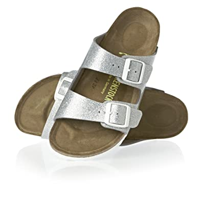 Birkenstock Arizona Sandals Girls Birko flor Magic Galaxy Silver Narrow Fit