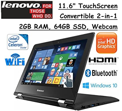 "Review 2017 Lenovo 2-in-1 Convertible 11.6"" HD Touchscreen Laptop Intel Dual-Core Processor 2GB RAM 64GB SSD Intel HD Graphics 400 802.11ac WIFI Webcam HDMI Bluetooth Windows 10- Black"