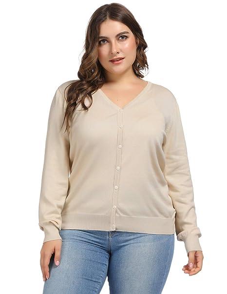 Hanna Nikole Women Button Down Long Sleeve V-Neck Soft Knit Cardigan Sweater  16W Apricot 3493e050a