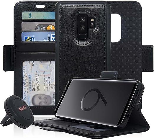 Navor Étui portefeuille magnétique détachable avec protection RFID compatible pour Samsung Galaxy S9 Plus [Série Vajio]