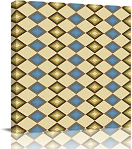 DOME-SPACE Square Canvas Wall Art Ornate Diamond Shape Pattern Design Geometric Artwork for Living Rooms Bedroom Home Decor Ready to Hang,28x28 inches