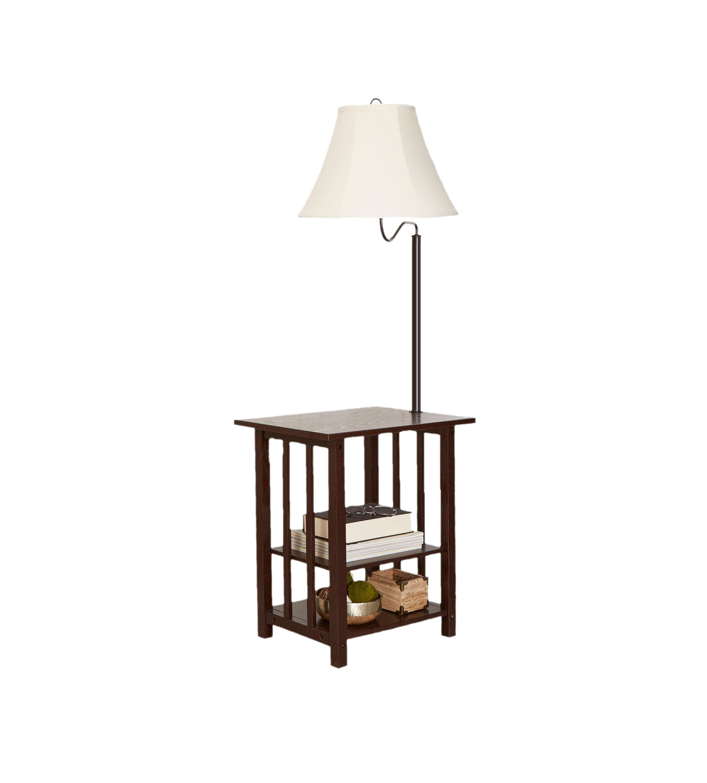 Combination Floor Lamp End Table Magazine with 3 Rack, Floor Lamp Table with Shelves & Swing ARM, Modern Floor Lamp with Table Attached, Floor Lamps with Table for Living Room, Bed room, Reading