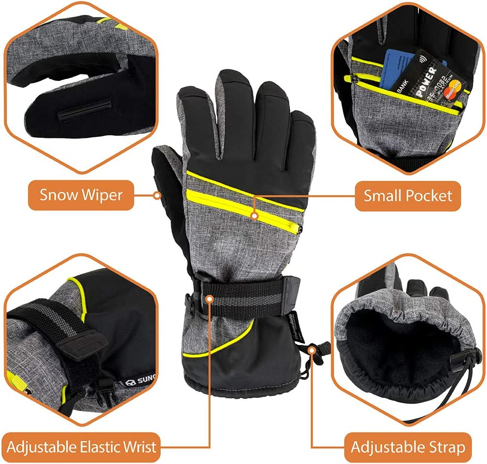 Waterproof 3M Thinsulate Winter Gloves Windproof Outdoor Snowboard SUN CUBE Ski Gloves for Men /& Women Shoveling Snow Gloves Snowmobile Grey//Yellow Trim, Extra Large