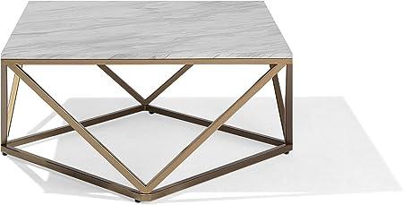 Beliani Modern Coffee Table Geometric Gold Metal Cage Frame Marble