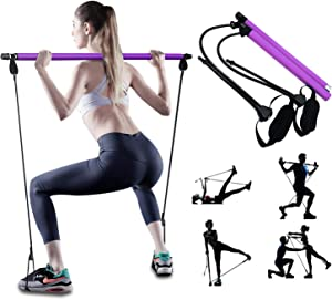 PLEASION Adjustable Pilates Bar Kit with Resistance Band for Women, Portable Workout Equipment Home Gym Pilates Exercise Stick, Full Body Workout Bar for Yoga Fitness