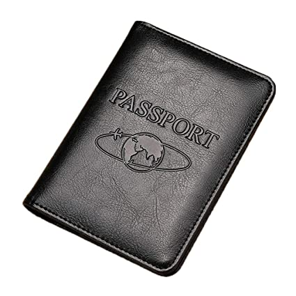 RK-HYTQWR RFID Bloqueo Cuero Genuino Pasaporte de Viaje ...