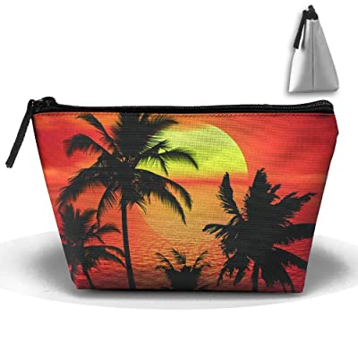 Enuain Tropical Sunset Summer Beach Makeup Bag Travel Cosmetic Pouch Storage Brush Holder Toiletries Bag Waterproof Jewelry Organizer With Zipper For Women&Girls
