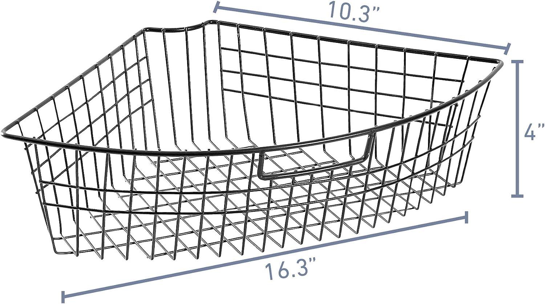 4 Packs Lazy Susan Wire Storage Organizer Basket with Handle 1//4 Wedge Can Organizer 16.3 x 10.3 x 4 Metal Organizing Storage Bins - Black Kitchen Cabinet Storage Organizer