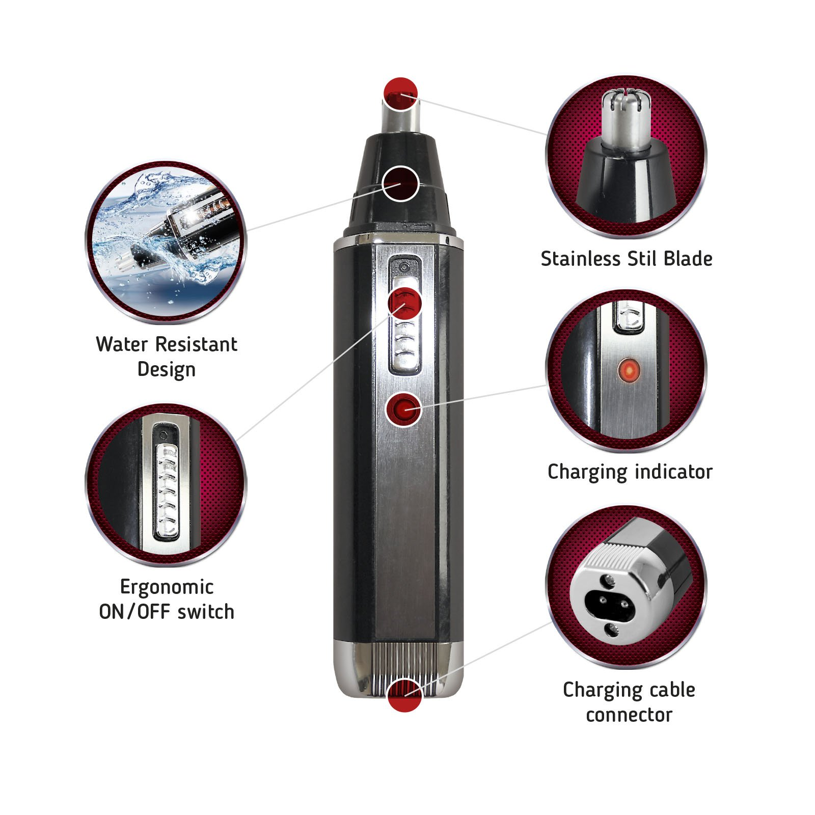 Nose Hair Trimmer - Nose Trimmer for Women Men - Personal Electric Cordless Eyebrow Ear Trimmer - 2 in 1 Best Face Precision Portable Trimmer - Facial Rechargeable Stainless Steel Nose Clippers
