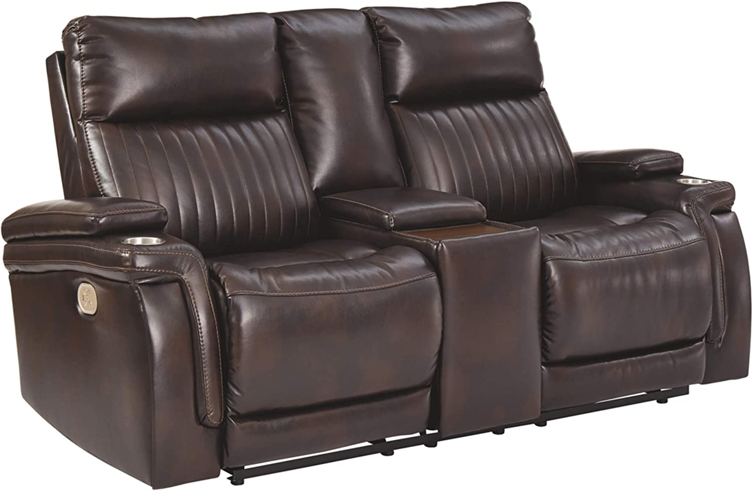 Signature Design by Ashley - Team Time Casual Faux Leather Power Reclining Loveseat - Console - Adjustable Headrest - Dark Brown