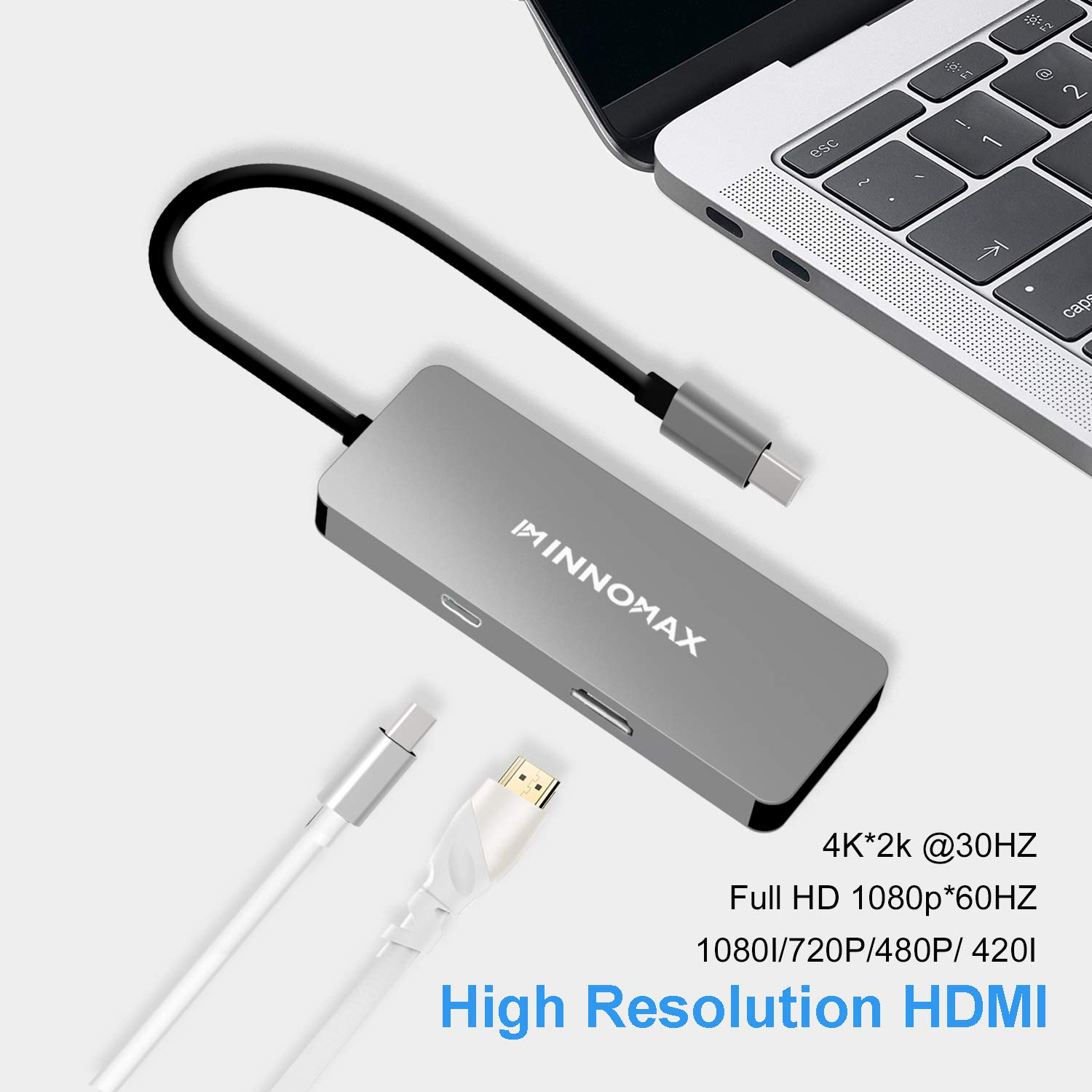 INNOMAX 7-N-1 USB Type-C to HDMI Adapter Hub with Power Delivery, SD Card Reader, 3 USB Ports for New MacBook Pro, Windows Powered Type C PC and Phones Like HW Mate 10 Pro,Samsung S8 etc-Gray by INNOMAX (Image #3)