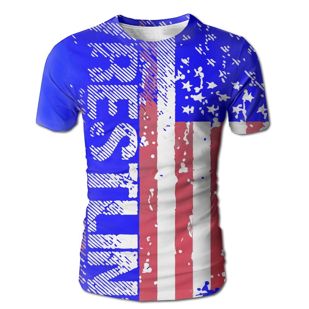 VN HNGD Wrestling American Flag Men's Casual Short Sleeve T-Shirts Top Tees by VN HNGD
