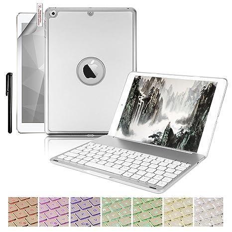 Boriyuan Funda Teclado para iPad 9.7, Folio Ultra Delgado Cubierta del Soporte de Shell Inteligente
