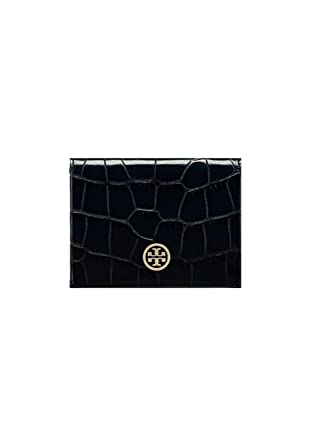 the latest 32919 5c6e8 Tory Burch Parker Embossed Foldable Card Case Wallet (Black): Amazon ...