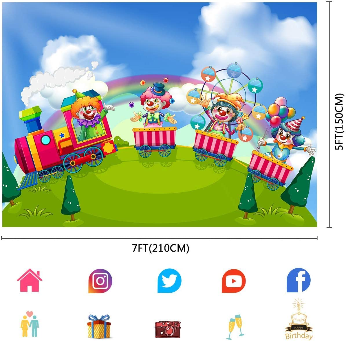 10x8ft Carnival Backdrop Amusement Park Train Clown Photography Backdrop for Children Baby Photo Background Props LYFU744