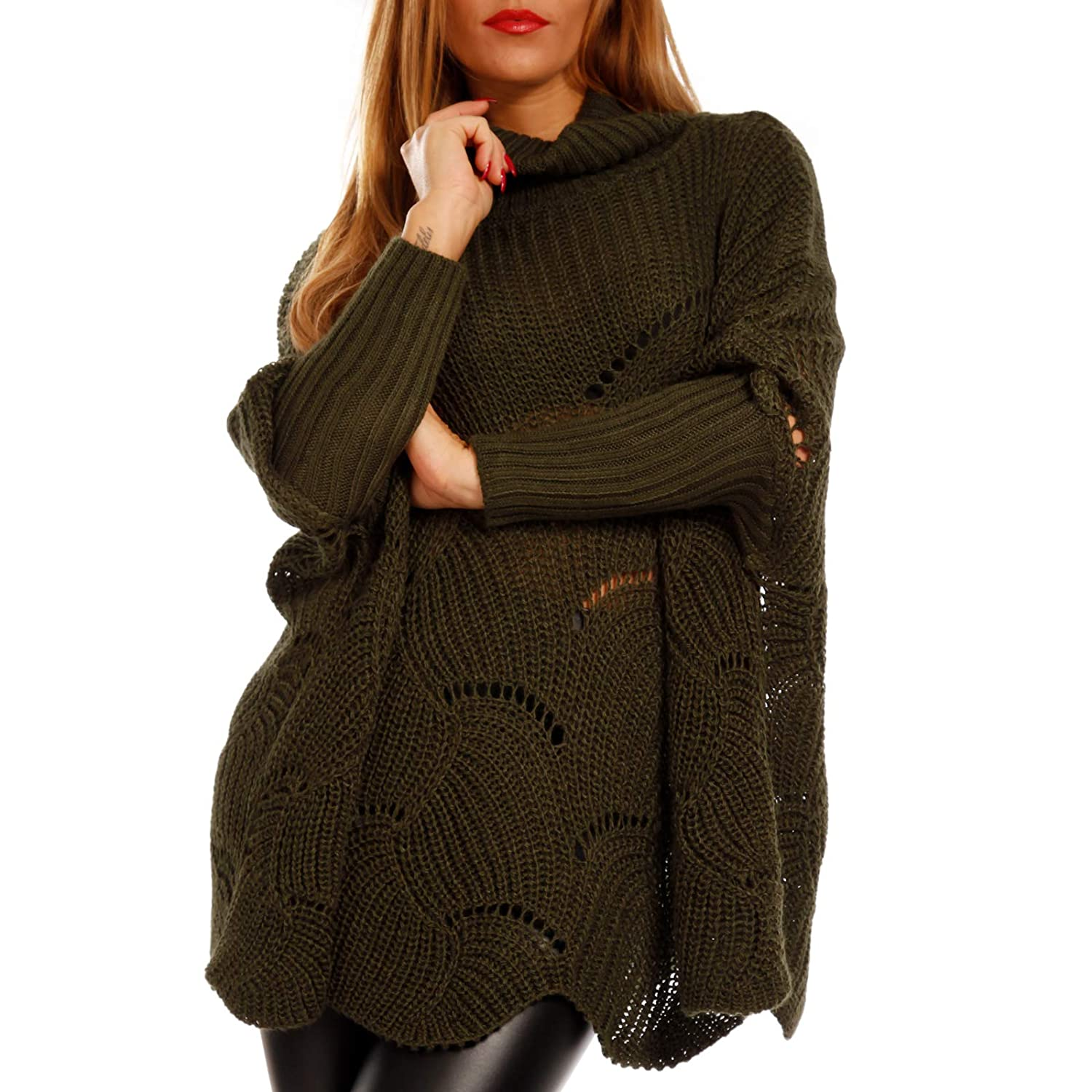 YC Fashion & Style Damen Cape Pullover Ponchopullover XXL Look Plus Size Strickpullover Herbst Winter Made in Italy