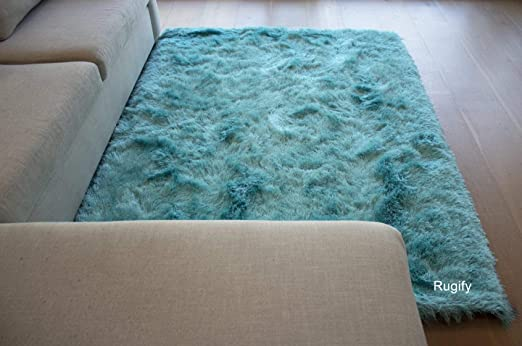 Shaggy RUG Blue Turquoise Modern all measures