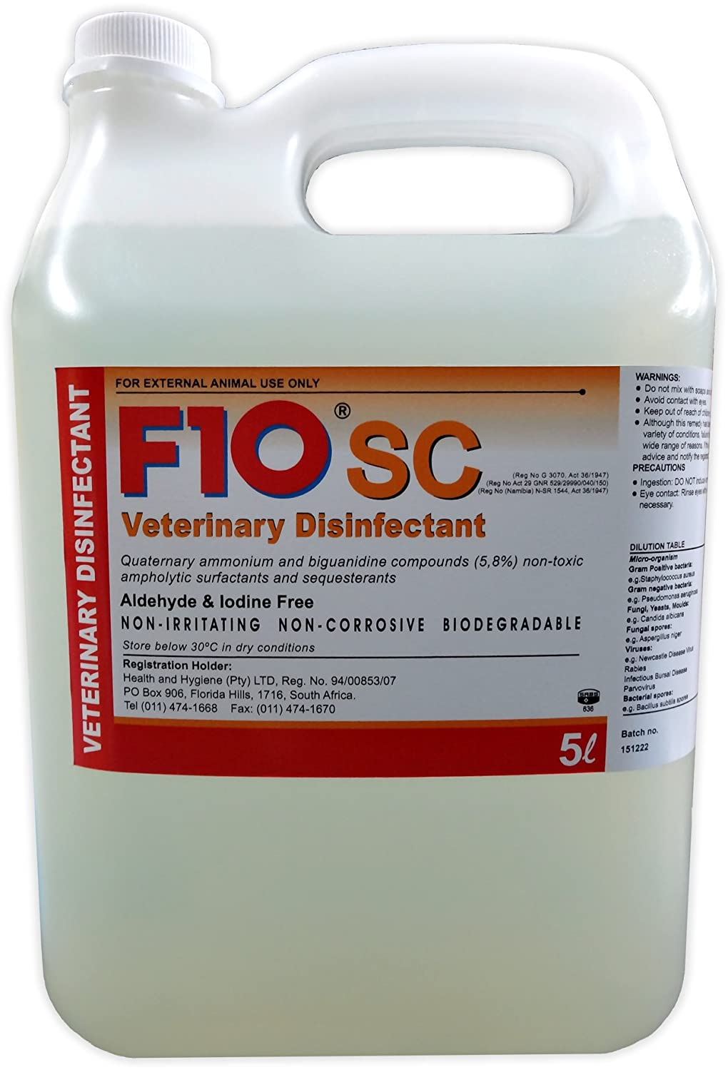 F10SC (Super Concentrate) Disinfectant Cleaning Solution (5 Litre)
