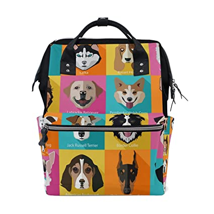 COOSUN Razas de perros iconos Mochila bolsa de pañales, de gran capacidad Muti-función