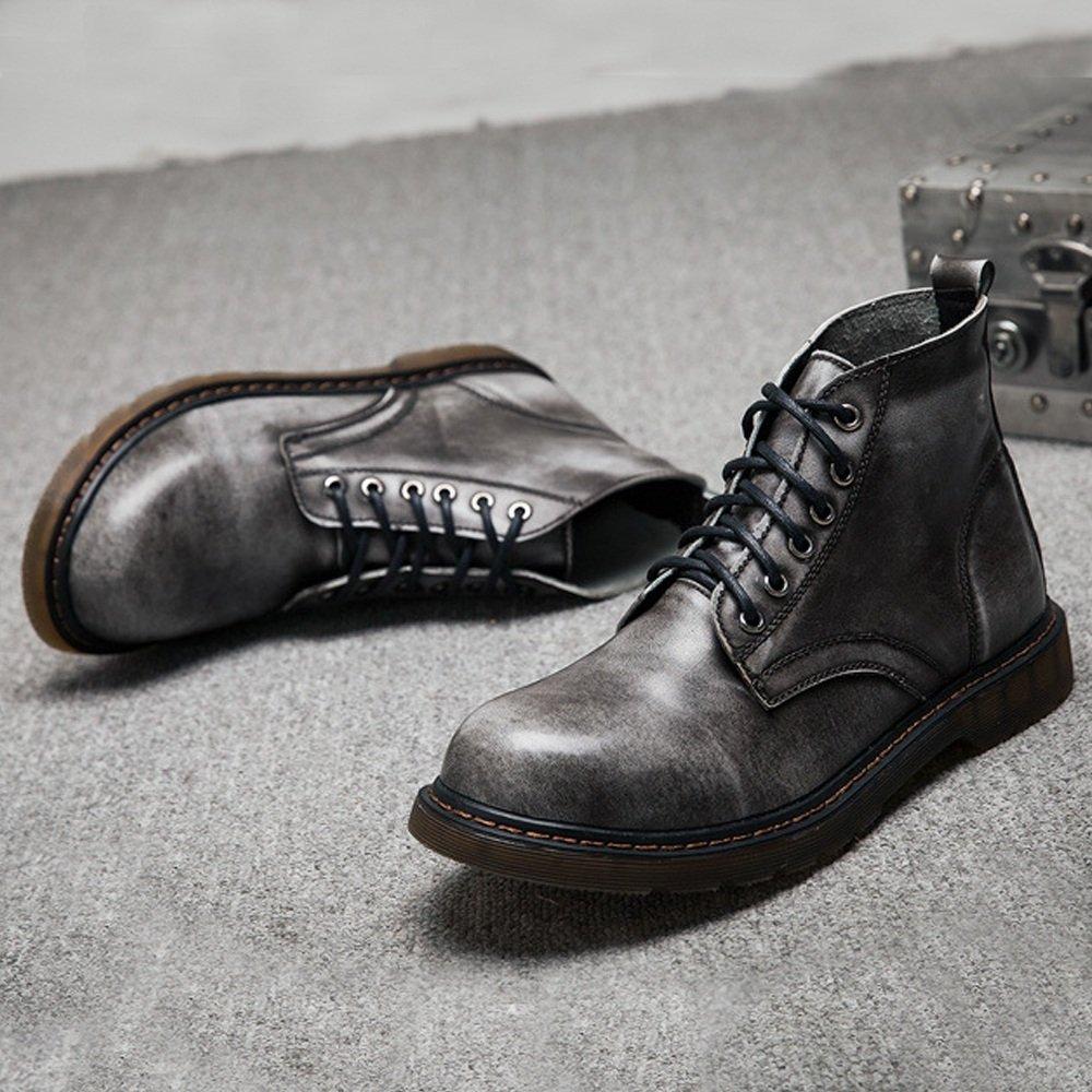 Lederschuhe Herrenschuhe Klassische Leder Schnürschuhe Oxfords High Top Ankle Boots Gray