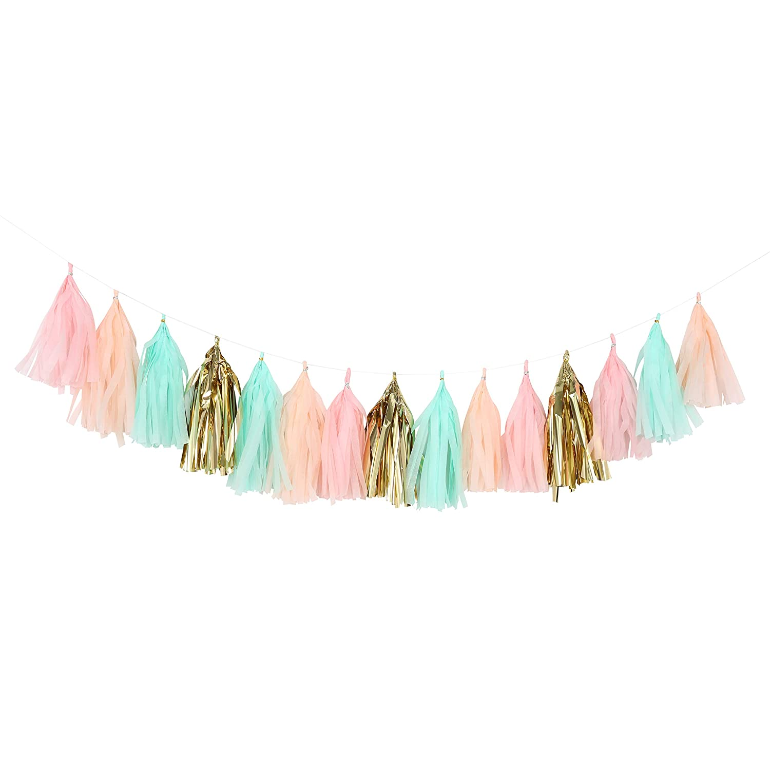 Fonder Mols Tissue Paper Tassels, Peach Cream and Mint Tassel Garland, Baby Shower Decoration, First Birthday Party, Shabby Chic Wedding Photo Backdrop A28