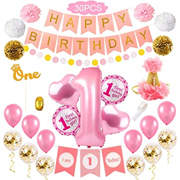 First Girl Birthday Party Decorations - 1st Girl Birthday Decorations/First Girl Party Decor | High Chair Decorations, Number 1 balloon, 1st Bday Hat, Cake Topper, Happy Bday banner, paper Pom Poms, Latex&confetti balloons
